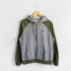 RVCA Grey Green Drawstring Kangaroo Hoodie